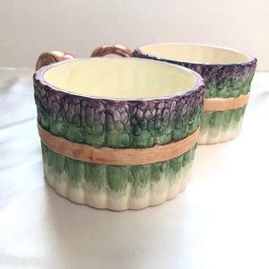 Vintage Set of 2 Ceramic Asparagus Soup Bowls